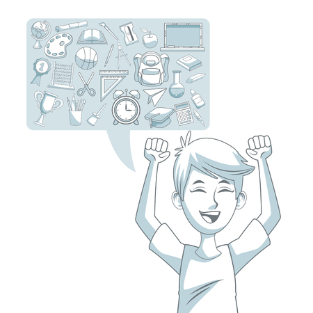 compas de dibujo: fondo blanco con silueta de color sombreado de cuadro de diálogo con elementos de la escuela conjunto y niño estudiante felicidad ilustración vectorial Vectores