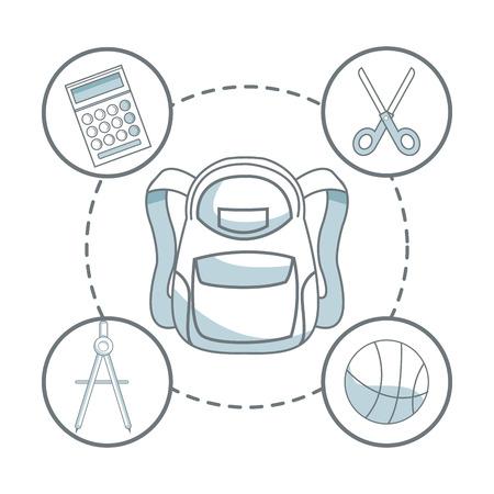 compas de dibujo: fondo blanco con sombreado de silueta de color de elementos de bolso y los iconos de la escuela académica alrededor de ilustración vectorial Vectores