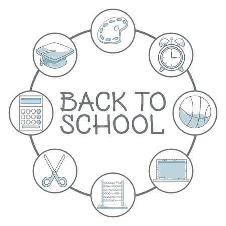 white background with color silhouette shading of school elements academic around to text back school vector illustration