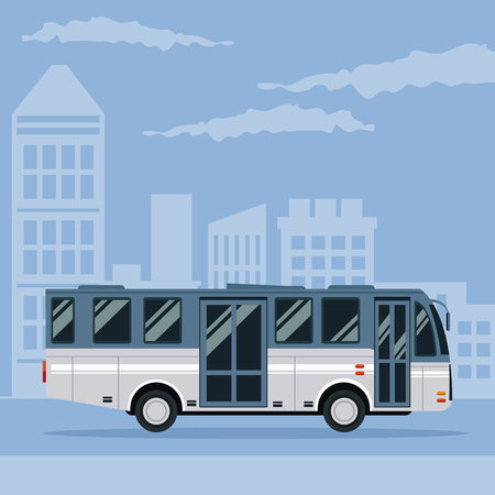 car speed: color poster city landscape with bus vehicle transport vector illustration