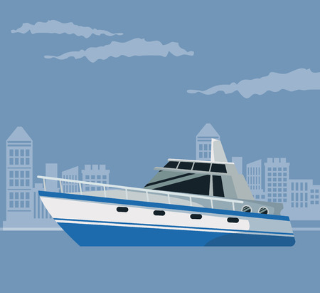 trip over: color poster city landscape with boat over water vector illustration