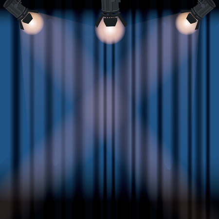 color background stage cinema curtain with spotlights vector illustration