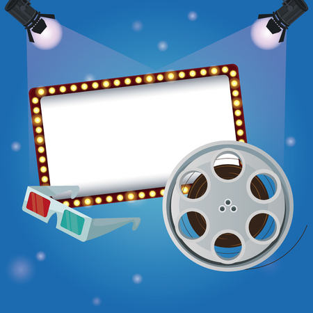 color background billboard banner with film reel movie and glasses 3D vector illustration Illustration