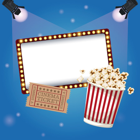 color background billboard banner with ticket movie and popcorn bucket vector illustration