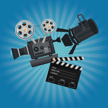 color background with glow with movie film projector clapperboard and spotlights vector illustration