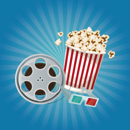 color background with glow with film reel and popcorn and glasses 3D vector illustration