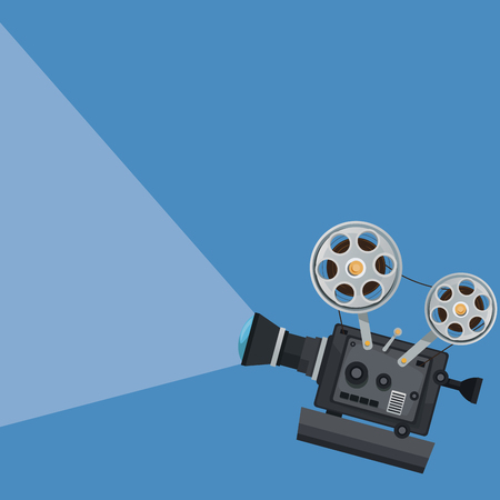 color background with movie projector vector illustration