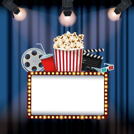 color background stage cinema curtain with spotlights billboard banner with elements film movie vector illustration