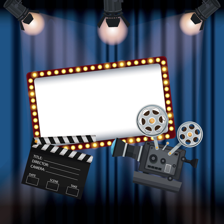 color background stage cinema curtain with spotlights movie film projector and clapperboard vector illustration
