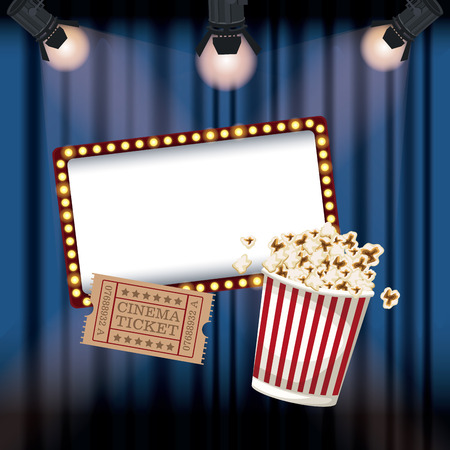 color background stage cinema curtain with spotlights ticket movie and popcorn bucket vector illustration