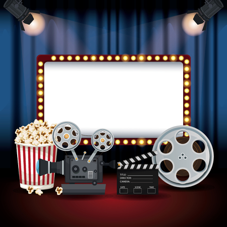 color background stage cinema curtain with spotlights and billboard banner with elements film movie vector illustration Иллюстрация