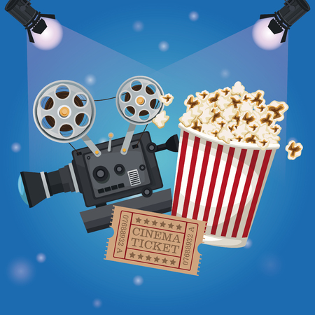 color background spotlights with ticket movie and popcorn bucket and movie film projector vector illustration