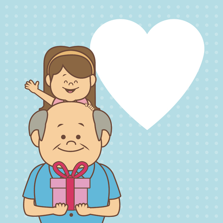 color dotted background card with elderly man carrying a little girl and gift happy grandparents day vector illustration