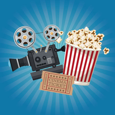 color background with glow with ticket movie and popcorn bucket and movie film projector vector illustration