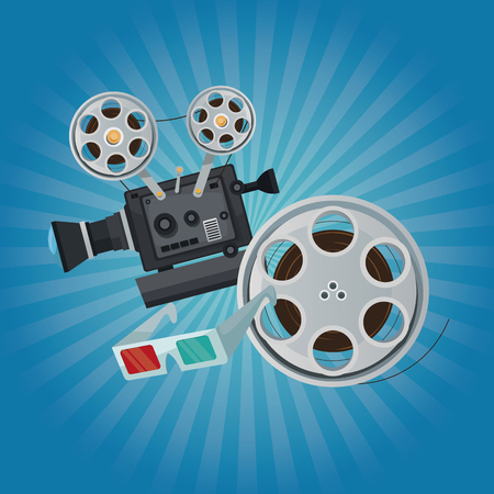 color background with glow with movie film projector clapperboard and glasess 3D vector illustration