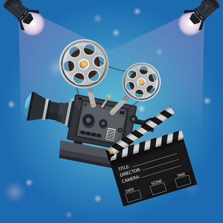 color background spotlights with clapperboard and movie film projector vector illustration