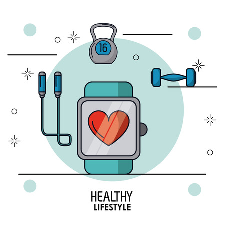colorful poster of healthy lifestyle with clock pulsation monitoring in closeup and dumbbell and jump rope on top vector illustration