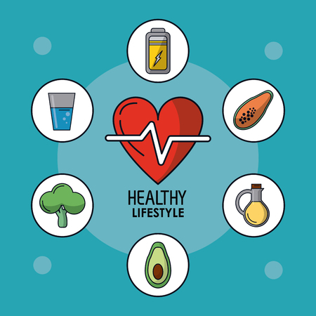 vegetal: blue poster of healthy lifestyle with heart pulse and healthy icons around vector illustration