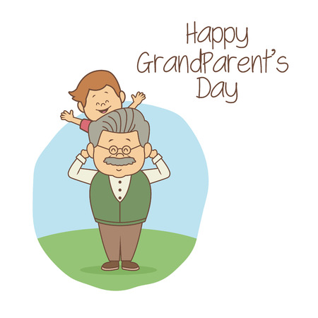 white background with scene grandpa carrying a boy happy grandparents day vector illustration Illustration