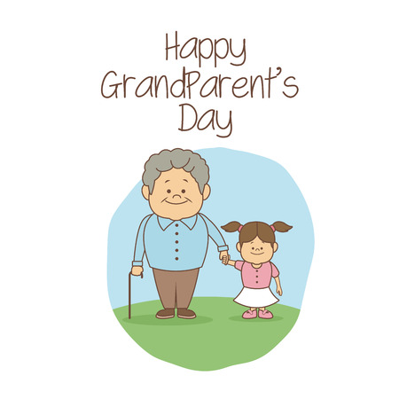 white background with scene grandpa holding hand a girl happy grandparents day vector illustration