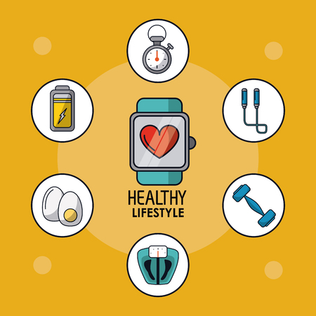 heart monitor: light orange poster of healthy lifestyle with clock pulsation monitoring and healthy icons around vector illustration Illustration