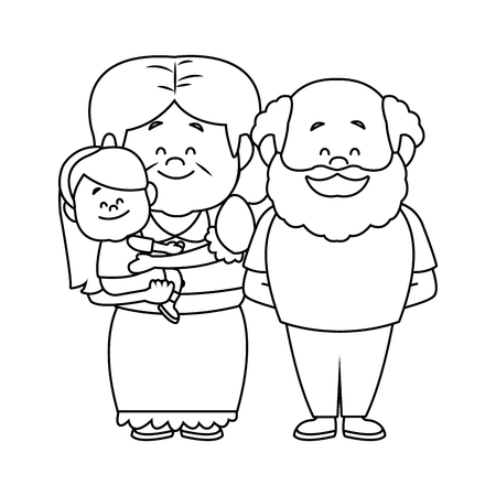 bald girl: happy grandparents standing with their granddaughter vector illustration Illustration