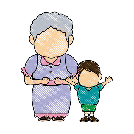 grandma and her grandson standing happy vector illustration Illustration