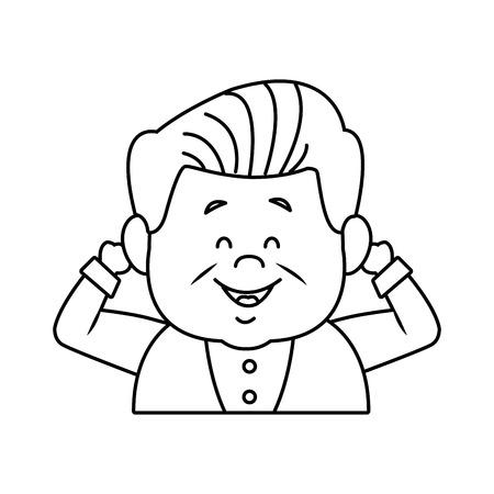 portrait happy grandfather man family person vector illustration Illustration