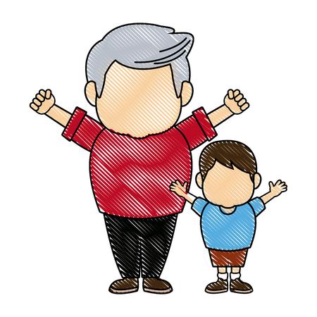cartoon happy grandpa and his grandson on white background vector illustration Illustration