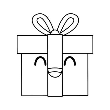 gift box wrapped ribbon bow decoration vector illustration Illustration