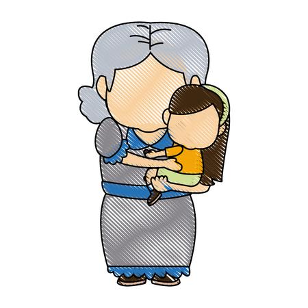 Bambina e nonna insieme illustrazione vettoriale famiglia