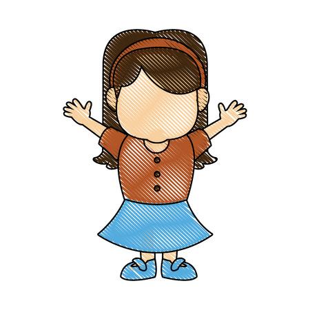 portrait girl granddaughter young image vector illustration