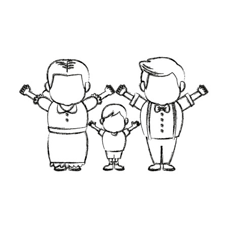 happy grandparents standing with their grandson vector illustration
