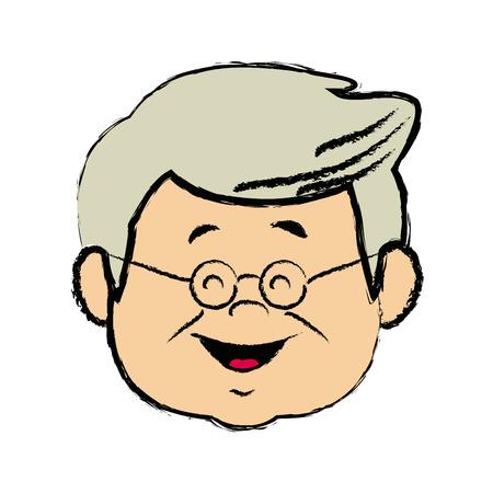portrait  grandfather man family person vector illustration Illustration