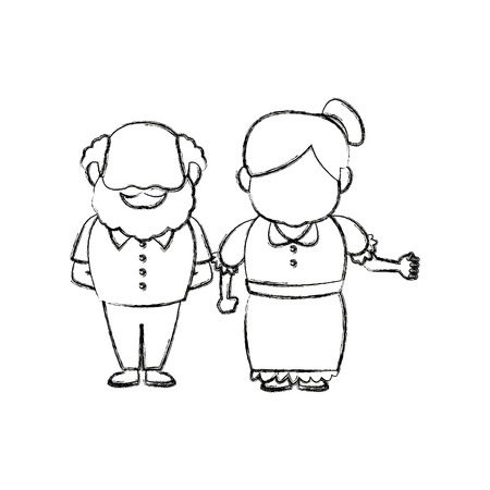 happy grandpa and grandma parents standing together vector illustration Çizim