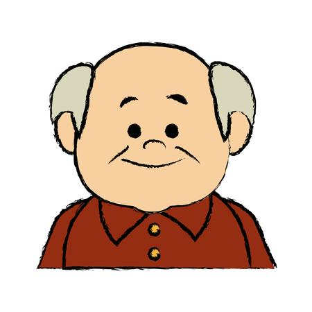 portrait  grandfather man family person vector illustration Çizim