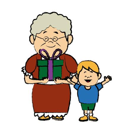 lovely grandma with grandson holding gift box vector illustration