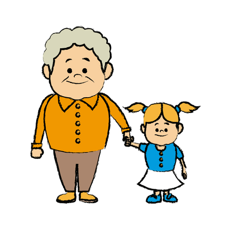 cute grandpa with granddaughter funny together vector illustration Illustration