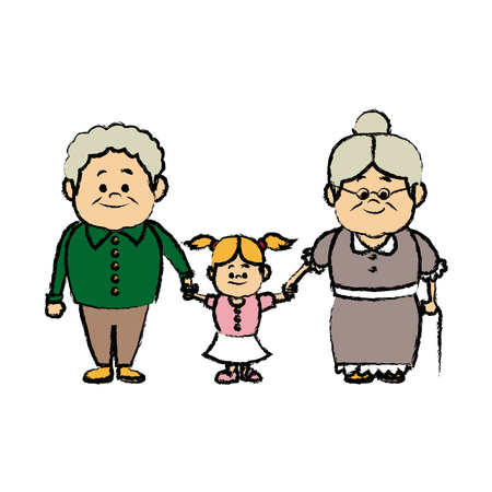 grandparents standing with their granddaughter vector illustration