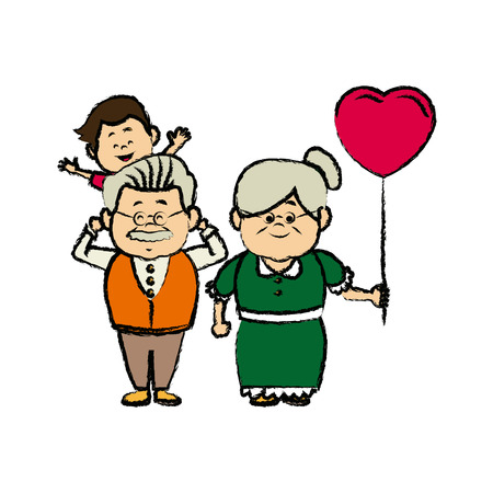 grandparents standing with their grandson vector illustration