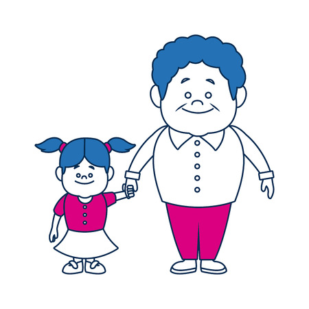 grandfather and girl holding hands together fun vector illustration
