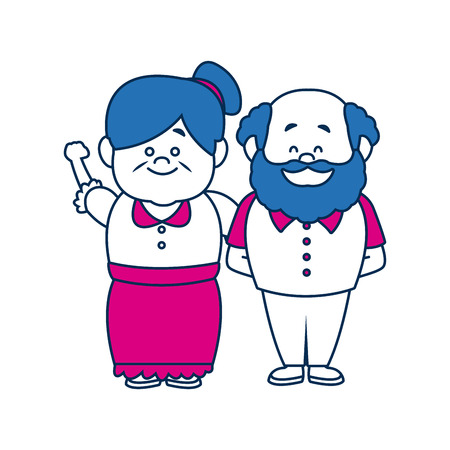 old people: happy grandpa and grandma standing lovely people vector illustration Illustration