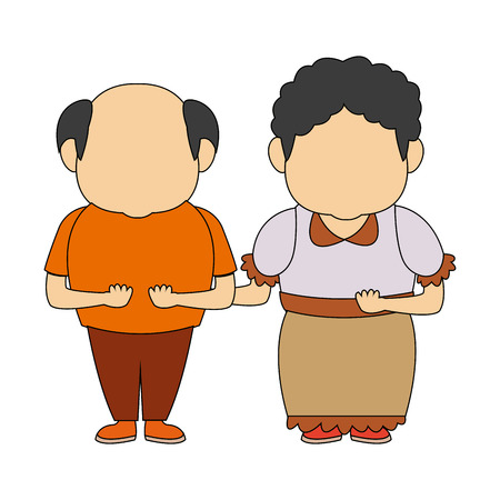 happy grandpa and grandma standing lovely people vector illustration Illustration