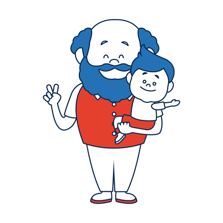 cartoon happy grandpa and his grandson family cheerful vector illustration