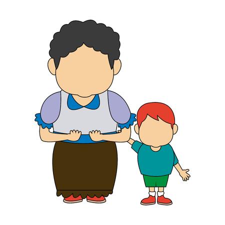 grandma and her grandson standing happy vector illustration Çizim