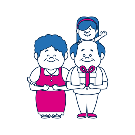 happy grandparents standing with their granddaughter vector illustration Illustration