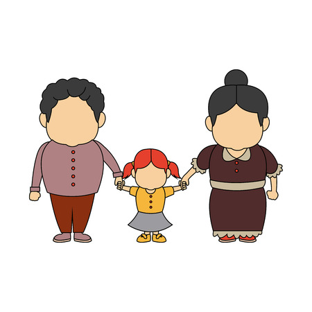 happy grandparents standing with their granddaughter vector illustration