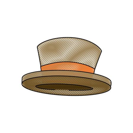 top hat elegant accessory fashion object vector illustration
