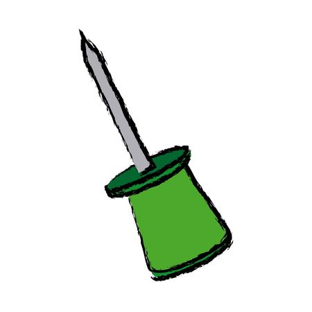 tack: push pin object school element icon vector illustration Illustration