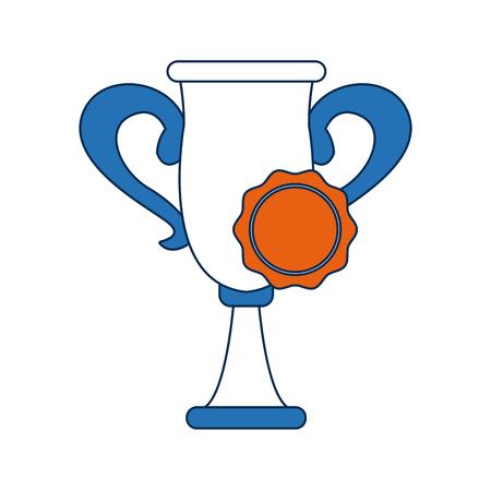 triumphant: trophy rosette award success honor icon vector illustration